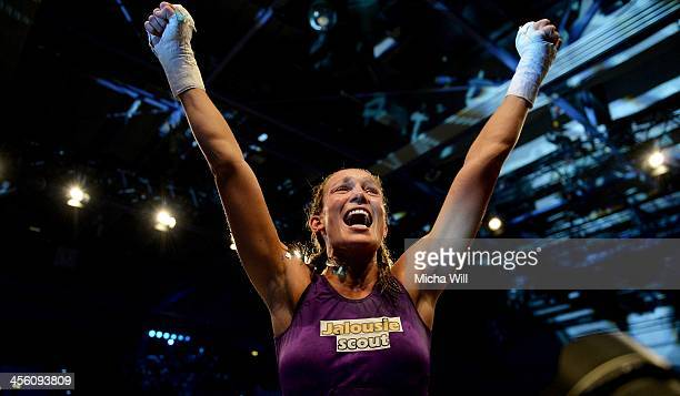 Christine Theiss of Germany after her victory ageinst Olga Stavrova of Russia during their WKU World Title fight at Oberfrankenhalle on December 13...