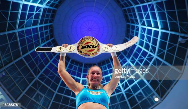 Christine Theiss of Germany celebrates the victory after her WKU Light Heavyweight World Championship fight on February 22 2013 in Munich Germany