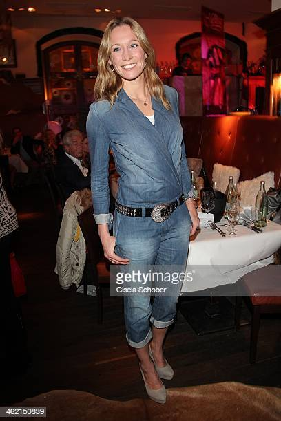 Christine Theiss Overall Jeans attends the celebration of Hugo Bachmaier's 56th birthday at Bachmaier Hofbraeu on January 12 2014 in Munich Germany