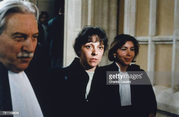 Christine Villemin with her lawyer Maître Garaud at the trial of her husband JeanMarie Villemin for the murder of Bernard Laroche Dijon France 10th...