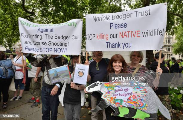 Christine Wood with campaigners in Cavendish Square London before a march to Downing Street in protest against badger culling fox hunting and grouse...