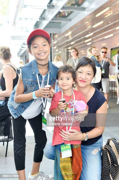 Christine Y Kim and children attend Hammer Museum KAMP 2017 on May 21 2017 in Los Angeles California