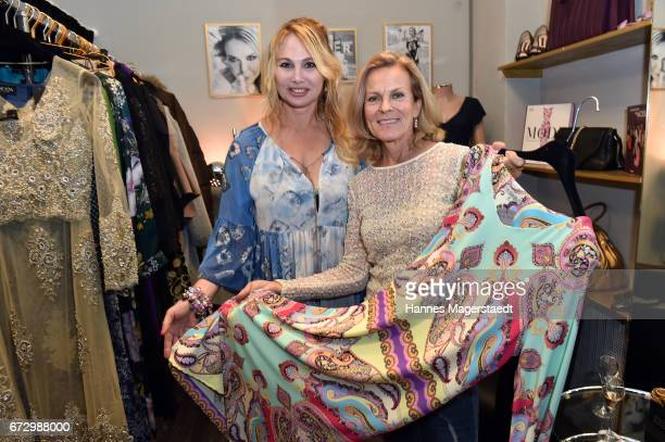 Christine Zierl and Andrea L'Arronge during the 'Kunst Kleid' fashion cocktail on April 25 2017 in Munich Germany