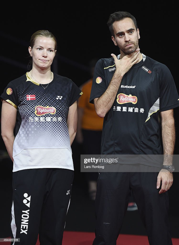 <a gi-track='captionPersonalityLinkClicked' href=/galleries/search?phrase=Christinna+Pedersen&family=editorial&specificpeople=5933396 ng-click='$event.stopPropagation()'>Christinna Pedersen</a> and Joachim Fischer of Denmark on the podium receiving their bronze medal in the mixed double the Li-Ning BWF World Badminton Championships at Ballerup Super Arena on August 31, 2014 in Copenhagen, Denmark.