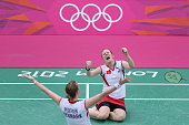 Christinna Pedersen and Kamilla Rytter Juhl of Denmark celebrate victory in their Women's Doubles Badminton match against Yunlei Zhao and Qing Tian...