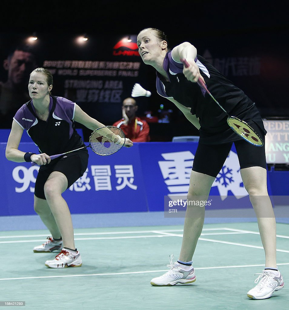 Christinna Pedersen and Kamilla Rytter Juhl (R) of Denmark in action against Wang Xiaoli and Yu Yang of China in the women's doubles event of the 2012 BWF Superseries Finals in Shenzhen, south China's Guangdong province on December 16, 2012. Wang and Yu beat Pedersen and Juhl 21-16, 21-14 for the title. AFP PHOTO