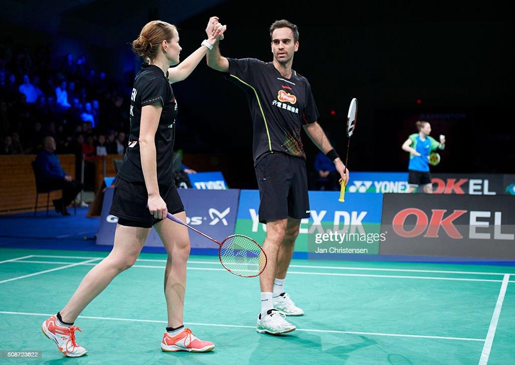Christinna Pedersen of Skovshoved and Joachim Fischer of Skovshoved celebrating during Danish Badminton Championships YONEX DM 2016 - Semifinals at Arhus Stadionhal on February 6, 2016 in Arhus, Denmark.