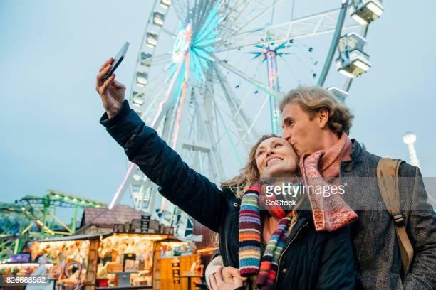 Christmas Amusement Park Selfie