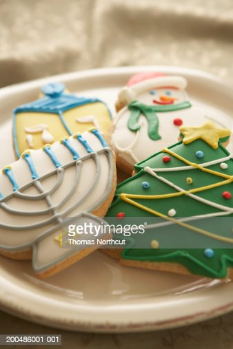 Christmas and Hanukkah cookies on plate, elevated view : Stock Photo