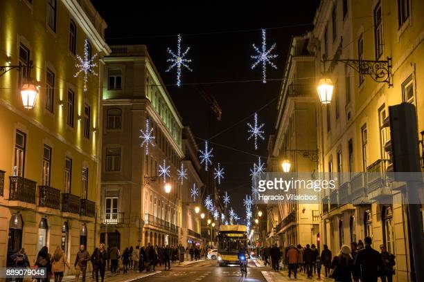 Christmas and New Year light displays in Rua Aurea on December 9 2017 in Lisbon Portugal The city shows a variety of light decorations in streets and...
