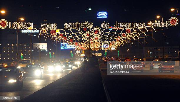 Christmas and New Year lights light the streets of Abidjan on December 15 2012 after the launch of the 2nd edition of 'Abidjan Perle des Lumieres'...