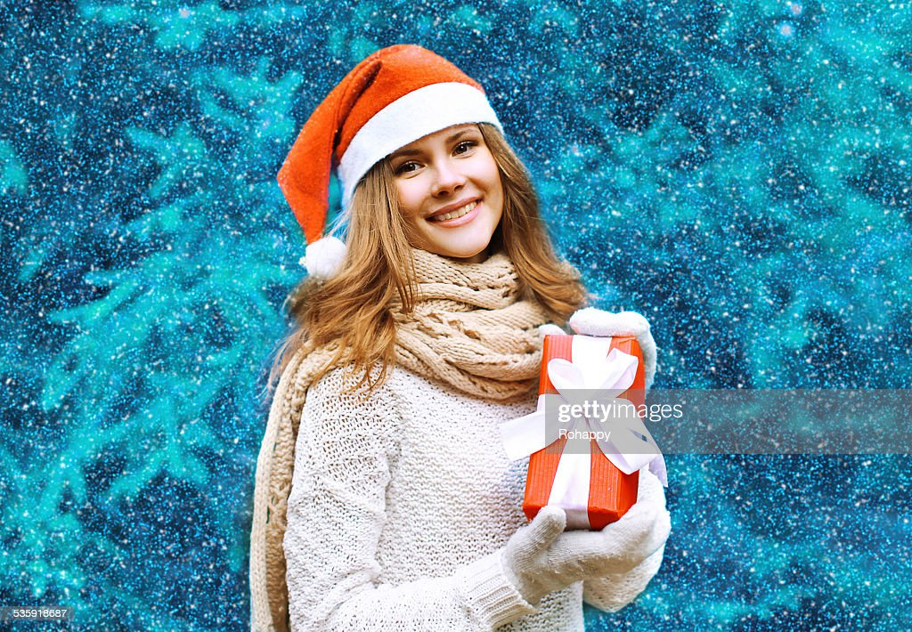 Christmas and people concept - happy pretty woman : Stock Photo