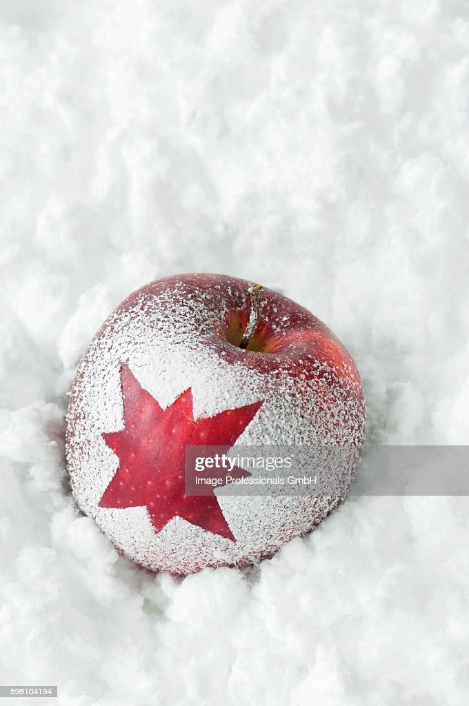 Christmas apple with snow