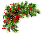 Christmas arrangement with pine twigs, cones and red silk ribbon bow isoaletd on white