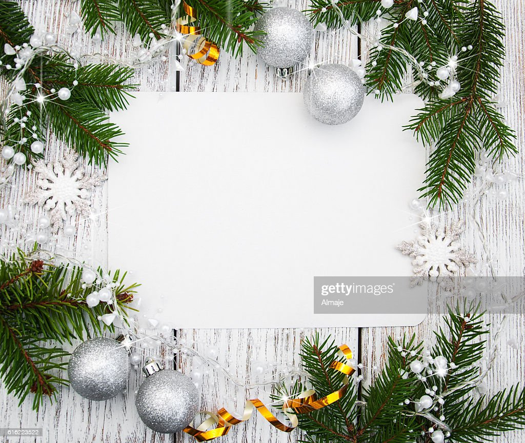 christmas background - blank paper with decoration : Stockfoto