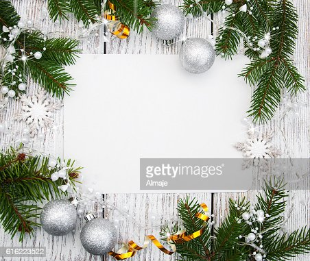 christmas background - blank paper with decoration : Stock-Foto