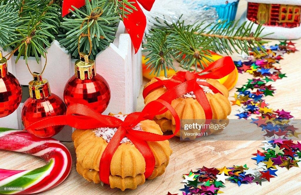 Christmas background, cake, lollipops. : Stock Photo