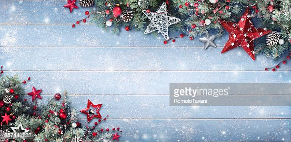 Christmas Background - Fir Branches And Baubles On Snowy Plank : Stock Photo