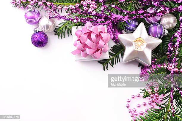 Christmas background in pink, green and silver