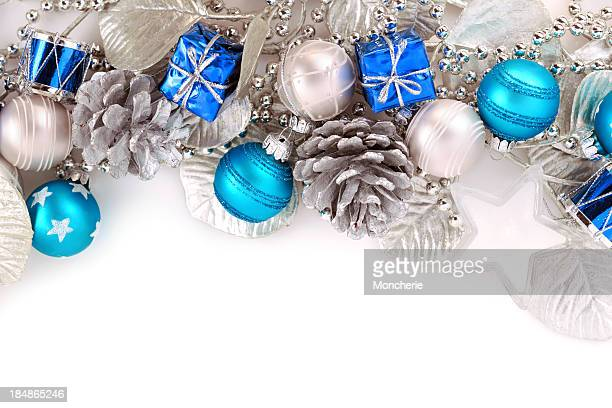Christmas background in white, blue and silver