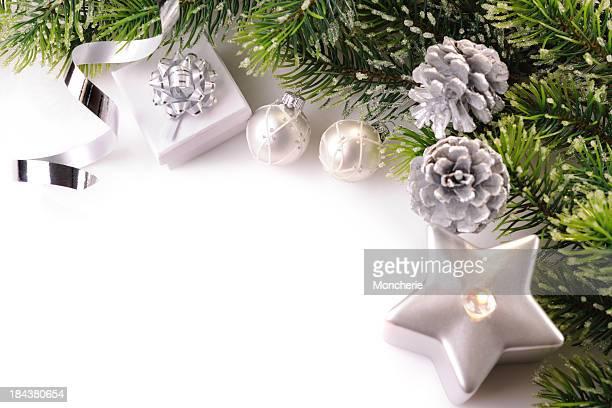 Weihnachten Hintergrund in Weiß, Grün und Silber
