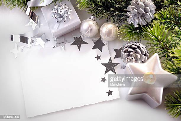 Christmas background in white,green and silver