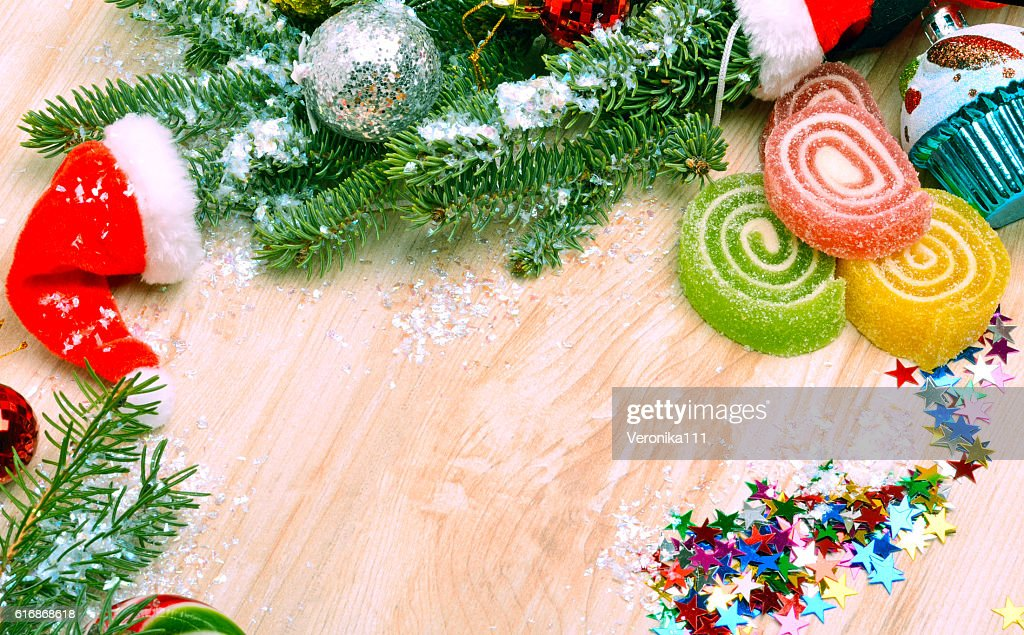 Christmas background, lollipops, pine twig, sweets. : Stock Photo