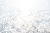 Christmas background - white glitter christmas abstract snow with blur bokeh light background.
