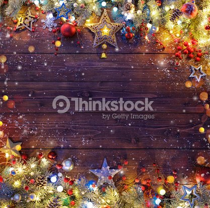 Christmas Background - Snowy Fir Branches And Lights On Dark Table : Stock Photo