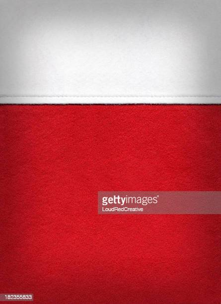 Christmas background with close-up of red and white stocking