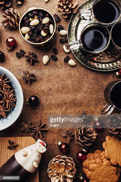 Christmas background with glögg ginger bread cookies and other food