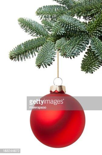 Christmas ball hanging on a fir tree branch