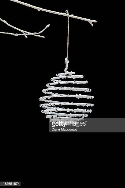 Christmas ball on white twig