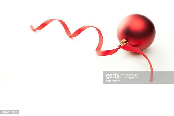 Boule de Noël rouge avec ruban &
