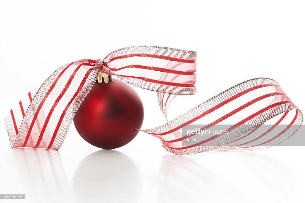 Christmas ball with ribbon : Stockfoto