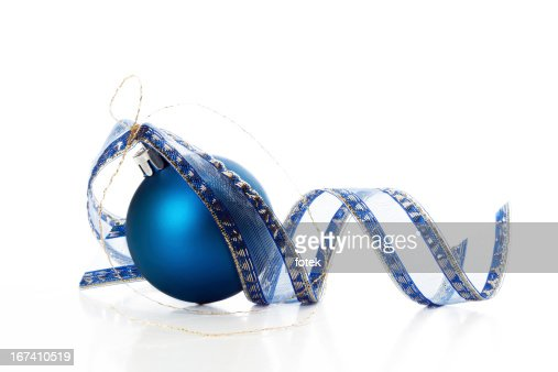 Christmas ball with ribbon : Stock Photo