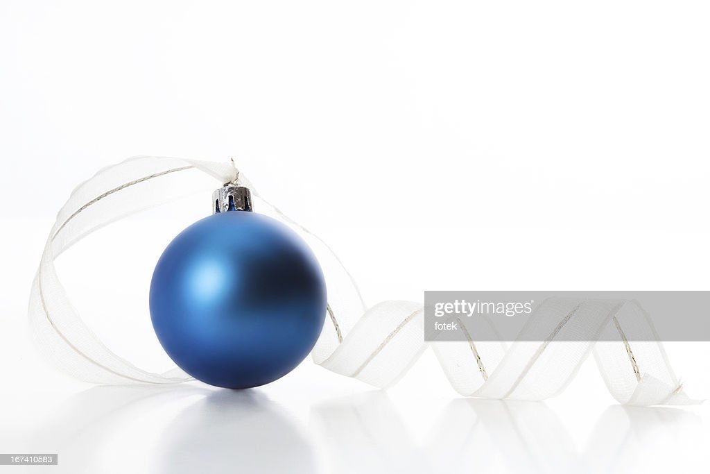 Christmas ball with ribbon : Stock Photo