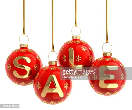 A Christmas balls hanging forming a word SALE