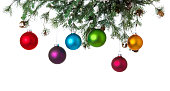 Christmas Balls Hanging from Pine Garland