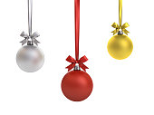 Christmas balls hanging with ribbon and bow isolated on white background for christmas decoration . 3D rendering.