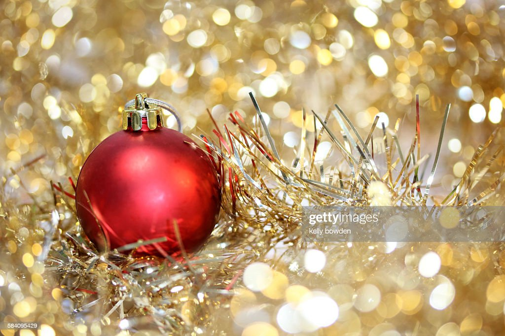 Christmas bauble decoration on tinsel