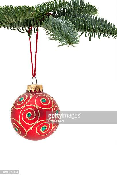christmas bauble on a fir twig