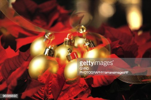 Christmas baubles on bed of red leaves : Stock Photo