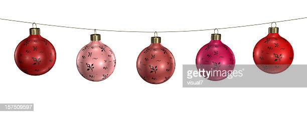 christmas baubles, ornaments hanging on a chain