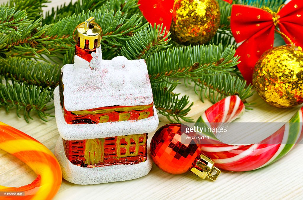 Christmas baubles, pine twig,  pine twig and lollipops. : Stock Photo