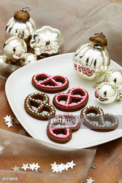 Christmas biscuits in shape of pretzels