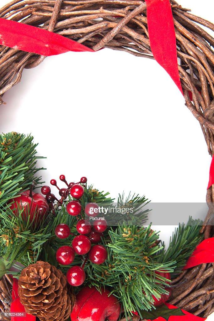 Noël de frontière isolé sur blanc : Photo