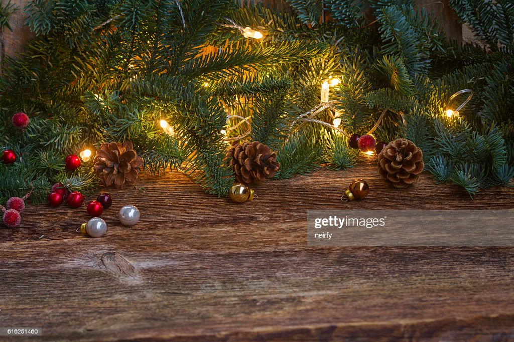 Christmas border with fir tree and lights : Stock-Foto