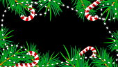 Christmas border with green fir branches, shiny garland, candies, 3d rendering backdrop, computer generated background
