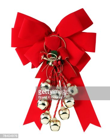 Christmas bow with sleigh bells : Stock Photo